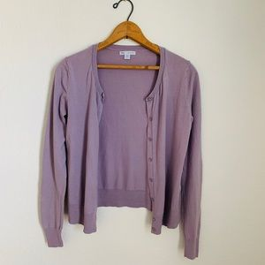 GAP Lavender Combed Cotton Cardigan Sweater